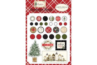 Carta Bella Paper CBCH89020 Christmas Decorative brads, Red/Green/Black/Tan