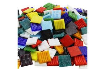 "BcPowr Mosaic Tiles - Bulk Mosaic Tile Assortment - 3/4"" (20mm) Mixed Colours Venetian Glass Tile Mixed Colour Mosaic Tiles Mosaic Glass Pieces - 0.5kg (470ml) Craft And Backsplash Tile Home Decoratio"