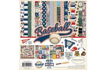 Carta Bella Paper Company CBBA95016 Baseball Collection Kit Paper Brown, red, Blue, Navy, Green, Yellow