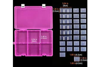 (big size-34 grids, Pink X1) - DUOFIRE Plastic Organiser Container Storage Box Adjustable Divider Removable Grid Compartment Big Clear Slot Box for Jewellery Beads Earring Container Tool Fishing Hook Small Accessories, Pink 34 Grids