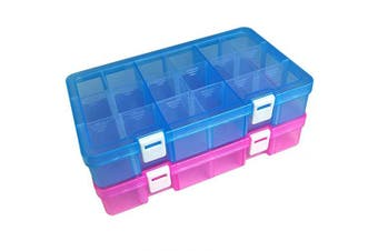 (middle plus size-18 grids, Pink-blue) - DUOFIRE Plastic Organiser Container Storage Box Adjustable Divider Removable Grid Compartment for Jewellery Beads Earring Tool Fishing Hook Small Accessories(18 grids, Pink-Blue)