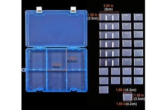 (big size-34 grids, Blue X1) - DUOFIRE Plastic Organiser Container Storage Box Adjustable Divider Removable Grid Compartment Big Clear Slot Box for Jewellery Beads Earring Container Tool Fishing Hook Small Accessories, Blue 34 Grids
