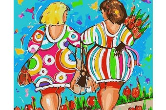 (Wooden Framed, Girls) - ABEUTY DIY Paint by Numbers for Adults Beginner - Colourful Girls and Flowers 41cm x 50cm Number Painting Anti Stress Toys (Wooden Framed)