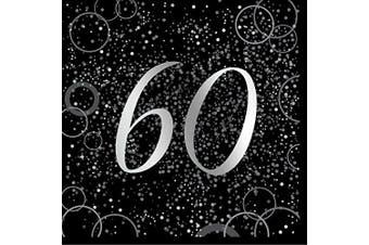 (Paper Napkins, Age 60, Silver) - Unique Party 57483 - Glitz Silver Foil 60th Birthday Paper Napkins, Pack of 16