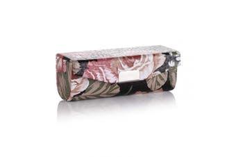 Beautyflier Women's Soft Leather Lipstick Case Holder with Mirror Rectanglet Makeup Travel Cases for Purse Lipstick Holder (Black Flower)