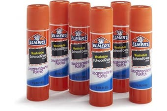 Elmer's Disappearing Purple School Glue Sticks, 5ml Each, 6 Sticks per Pack (E1560)