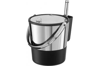 (3.8l) - Oggi Black and Stainless Steel Double Wall Ice Bucket with Flip Top Lid and Ice Scoop