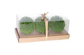 10cm Artificial Foliage Green Decorative Balls, Set of 3