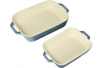 (2-piece, Rustic Turquoise) - Staub 40511-924 Ceramics Rectangular Baking Dish Set, 2-piece, Rustic Turquoise
