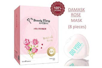 (Damask Rose - 8 piece) - MY BEAUTY DIARY Facial Sheet Mask, DAMASK ROSE MASK, Restore Dull, Lusterless Skin (with Sleek Compact Mirror) #1 Selling Face Mask in Asia, Super Ultra-Thin Masque (Damask Rose - 8 piece)