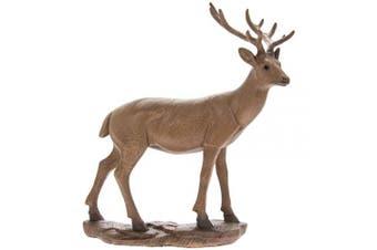 The Leonardo Collection Carved Wooden Effect Animal Kingdom Standing Deer Figurine