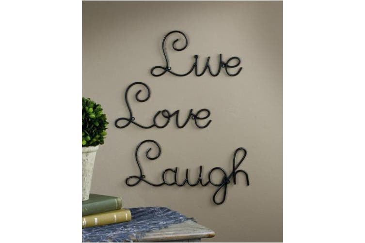 Live Love Laugh Set 3 Wall Mount Metal Wall Word Sculpture, Wall Decor By Mia & Max Supply Co.®