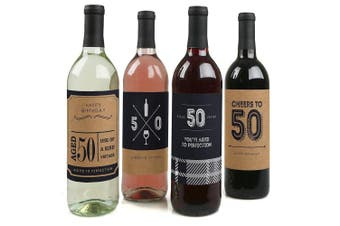 50th Milestone Birthday - Dashingly Aged to Perfection - Wine Bottle Labels Birthday Gift - Set of 4
