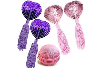 (2 Pairs-Pink+Purple) - Reusable Silicone Sequin Adhesive Nipple Cover Pasties Bra with Tassel Heart Pasties Adhesive Nipple Cover (2 Pairs-Pink+Purple)