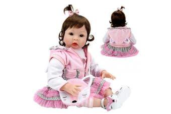 Aori Realistic Reborn Dolls 60cm Lifelike Handmade Soft Body Toy Weighted Roborn Baby Girl with Fox Gift Set