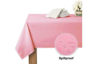 (150cm  x 260cm , Pink) - RYB HOME Pink Tablecloth Spillproof - Scratch Protect Rectangule Table Cloth for 2.4m Table Decor, Durable Table Cloth for Buffet Table Wedding Dining Baby Shower, 60 x 102