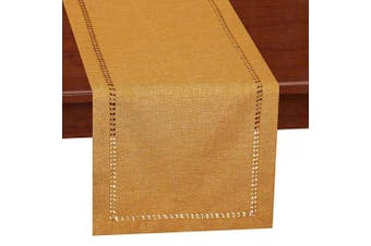(14 x 90, Mustard Gold) - Grelucgo Handcrafted Solid Colour Dining Table Runner, Dresser Scarf, Double-Hemstitched (Mustard Gold, 14 x 90)