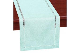 (14x120, Aqua) - Grelucgo Handcrafted Solid Colour Dining Table Runner, Dresser Scarf, Double-Hemstitched (Aqua, 14 x 120)
