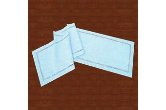 (14x48, Light Blue) - Grelucgo Handcrafted Solid Colour Dining Table Runner, Dresser Scarf, Double-Hemstitched (Light Blue, 14 x 48)