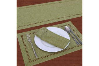 (14x90, Sage Green) - Grelucgo Handcrafted Solid Colour Dining Table Runner, Dresser Scarf, Double-Hemstitched (Sage Green, 14 x 90)