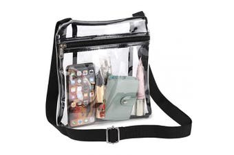 (Black) - Clear Crossbody Purse, Clear Bag Stadium Approved for Hamilton Rolling Stone Concert NFL PGA Women Man Work School with Adjustable Strap