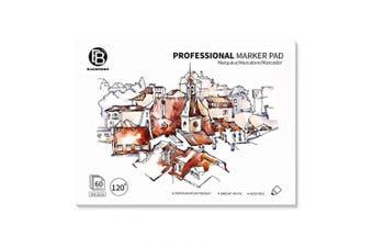 Bachmore Bleedproof Marker Paper Pad- 23cm x 30cm - Premium White, 50 Sheets Semi Translucent for Pen, Pencil or Marker, Fold Over
