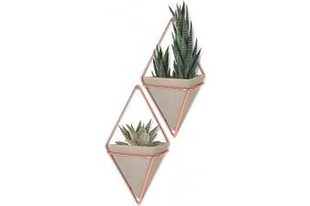 (Small, Concrete/Copper) - Umbra Trigg Hanging Planter Vase & Geometric Wall Decor Container - Great For Succulent Plants, Air Plant, Mini Cactus, Faux Plants and More, Concrete Resin/Copper (Set of 2)