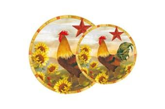 Calypso Basics, Tin Burner Cover Set 5.1cm - 20cm & 5.1cm - 25cm , Morning Rooster