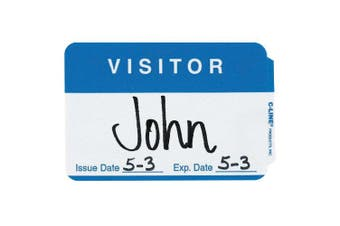 C-Line Products Inc CLI92245 C Line Self Adhesive Blue Name Badges Visitor Pack Of 100