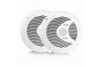 (150 watts, White) - 17cm Dual Marine Speakers - 2 Way Waterproof and Weather Resistant Outdoor Audio Stereo Sound System with 150 Watt Power, Polypropylene Cone and Cloth Surround - 1 Pair - PLMR60W (White)