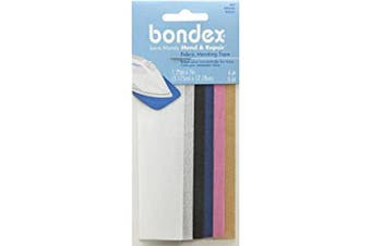 """Bondex Mend And Repair with No Sew Iron-On Patch Fabric Mending Tape 1.25x7"""" (3.175cm x 17.78cm) White, Beige, Black, Navy, Pink, Tan (6pc)"""