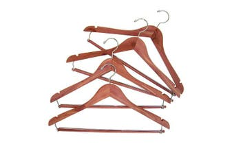 CedarFresh 26340 Red Cedar Wood Clothes Hangers | Locking Trouser Bar and Swivel Hook | Set of 4