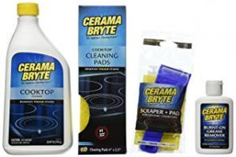 (Kit 2) - Cerama Bryte Best Value Kit: Ceramic Cooktop Cleaner 830ml, Scraper, 10 Pads, Burnt-on Grease Remover 60ml