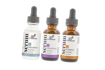 ArtNaturals Anti-Ageing-Set with Vitamin-C Retinol and Hyaluronic-Acid - (3 x 1 Fl Oz / 30ml) Serum for Anti Wrinkle and Dark Circle Remover – All Natural and Moisturising