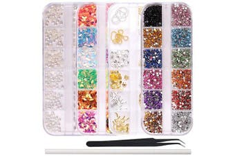 WOKOTO 4Pcs/Set Nail Charms Nail Art Rhinestones Decoration Kit With Metal Studs Ab Rhinestones For Nails Pearls And Tweezers And Rhinestone Picker Pencil