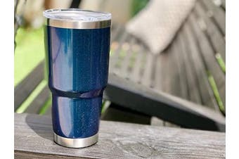 (890ml, Blue Sparkle) - CHILLOUT LIFE 890ml Stainless Steel Tumbler with Lid & Gift Box - Double Wall Vacuum Insulated Large Travel Coffee Mug with Splash Proof Lid for Hot & Cold Drinks - Blue Sparkle