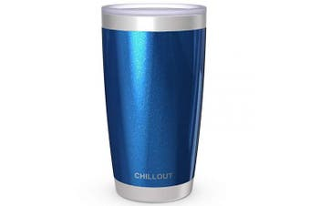 (590ml, Blue Sparkle) - CHILLOUT LIFE 590ml Stainless Steel Tumbler with Lid & Gift Box - Double Wall Vacuum Insulated Large Travel Coffee Mug with Splash Proof Lid for Hot & Cold Drinks - Blue Sparkle