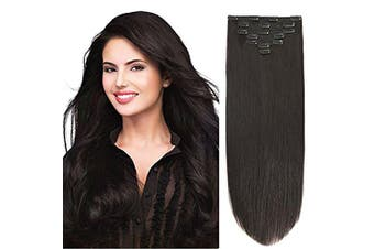 (36cm -85g, #1B(Off Black)) - 36cm Clip Hair Extensions Human Hair Clip in Extensions Double Weft Off Black #1B 7pieces 85gram90ml