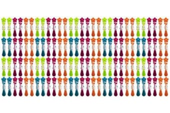 (120) - Set of 120 Flower Decorative Kitchen Clips! Flower Design - 8.9cm Clips - Bag Clips and Organisational Office Clips In Beautiful Bright Colours! (120)