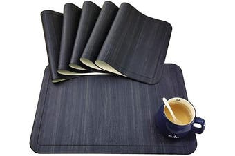 (PU Material, Pu-black) - Tennove Placemats Set of 6, Washable Placemats PU Leather Stain Resistant Table Mats for Kitchen Dining Table (PU-Black)