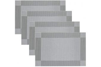 (Set of 4, Silver grey) - Place Mats Famibay Silver PVC Table Mats Set of 4 Washable Rectangle Fabric Placemats for Table (Silver grey)