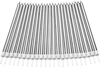 (Long, Silver) - Blulu 50 Pieces Long Thin Metallic Birthday Cake Candles in Holders for Birthday Wedding Party Cake Decorations (Silver)