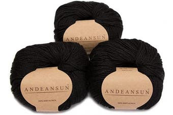 AndeanSun -100% Baby Alpaca Yarn Skeins - Set of 3 - Black -Luxuriously soft for knitting, crocheting - Great for baby garments, scarves, hats, and craft projects - Assorted Natural and Vibrant Colours - Satisfaction Guaranteed