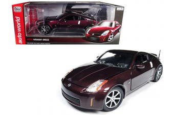 2003 fits Nissan 350Z Coupe Brickyard Red Metallic Limited Edition to 1002 pieces Worldwide 1/18 Diecast Model Car by Autoworld AW240