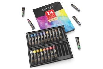 ARTEZA Watercolour Premium Artist Paints Set - 24 Colours (24 x 12 ml / 0.74 US fl oz)