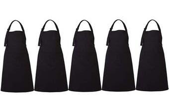 (5, Black) - RAJRANG BRINGING RAJASTHAN TO YOU Bulk Aprons Set of 5 - Adjustable Neck Mens Apron with Pockets for Restaurant Professional Waiters and Chefs - Black - 90cm x 70cm
