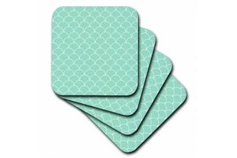3dRose Mint Green Scallop Pattern, Soft Coasters, set of 8