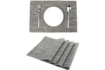 (Dark Grey) - LILYKING Placemats for Dining Table, Heat-Resistant Placemats, Stain Resistant Washable Table Mats, Woven Textilene Non-Slip Insulation Placemat, Set of 4 (Dark Grey)