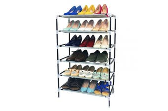 (6 Tiers 18 Pairs) - AcornFort® S-111 6 Tiers Adjustable Shoe Storage Shoe Rack Organiser Shelf Hold Stand for 18 Pairs Shoes, Using Thickened Electrophoresis Tubes, Sturdy & Space Saving, Easy Assemble