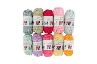 (10 Bon Bons, Assortment 95) - BambooMN Brand - Cotton Select Bonbon Yarns - Assortment 95 (Colour E) - 10x 10g Solid Colour Mini Ball - 1 Pack